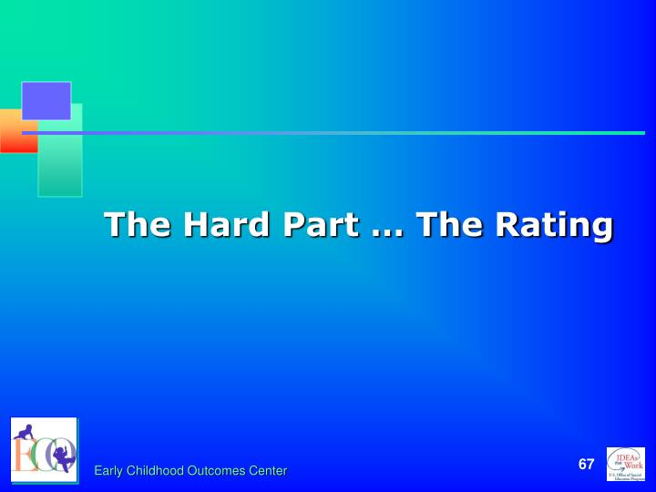 The Hard Part … The Rating