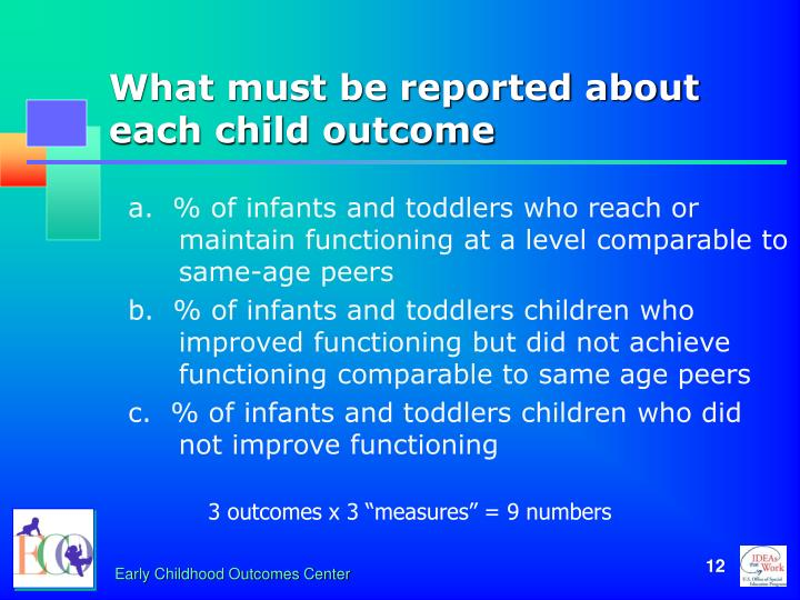 What must be reported about each child outcome