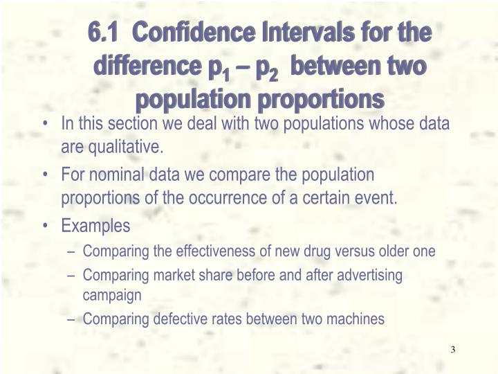 6 1 confidence intervals for the difference p 1 p 2 between two population proportions