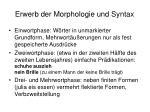 erwerb der morphologie und syntax