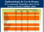 epidemiologia do uso de drogas ii levantamento domiciliar sobre uso de drogas no brasil cebrid 2006