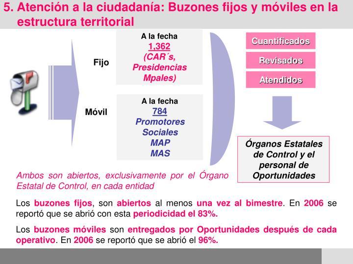5. Atención a la ciudadanía: Buzones fijos y móviles en la estructura territorial