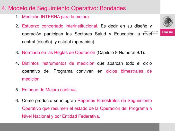 4. Modelo de Seguimiento Operativo: Bondades