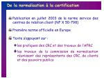 de la normalisation la certification