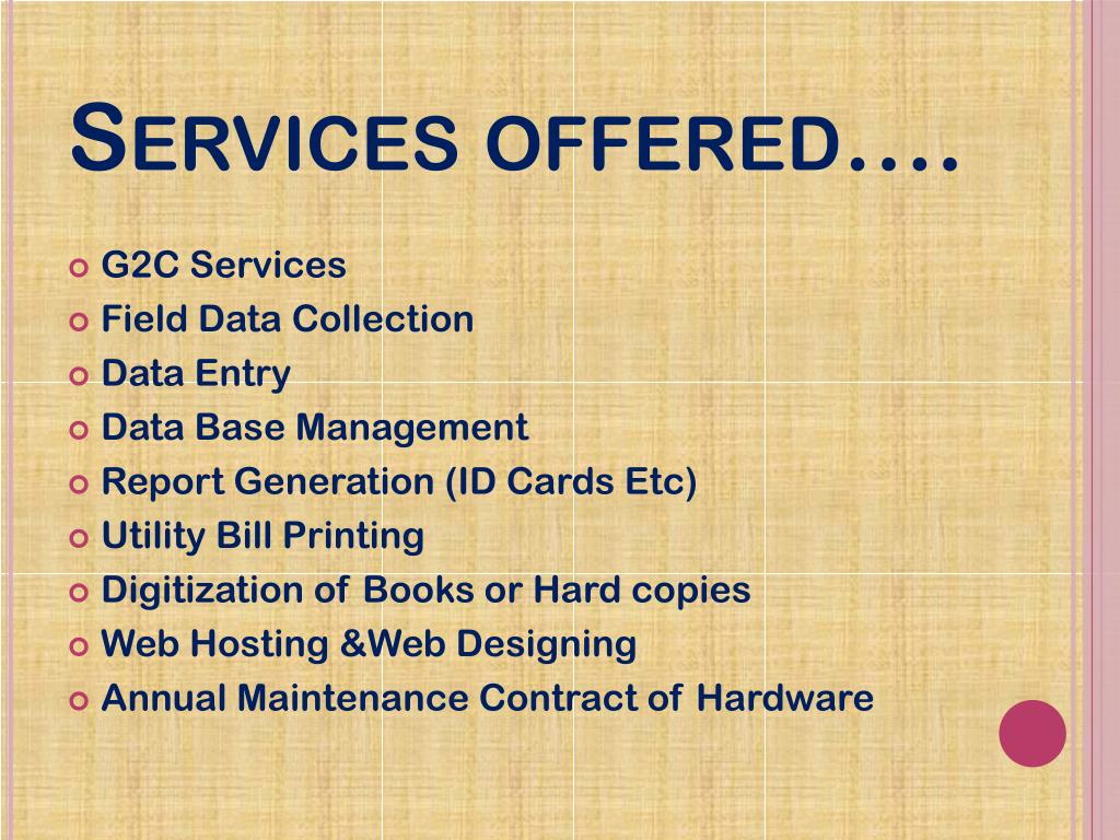 Services offered….
