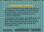 l impossible synth se