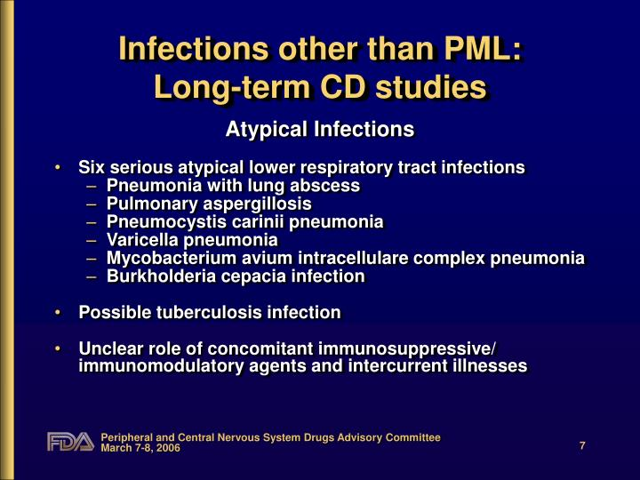 Infections other than PML: