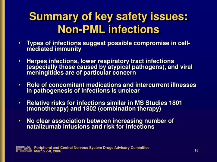 Summary of key safety issues: