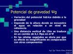 potencial de gravedad g