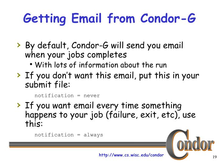 Getting Email from Condor-G