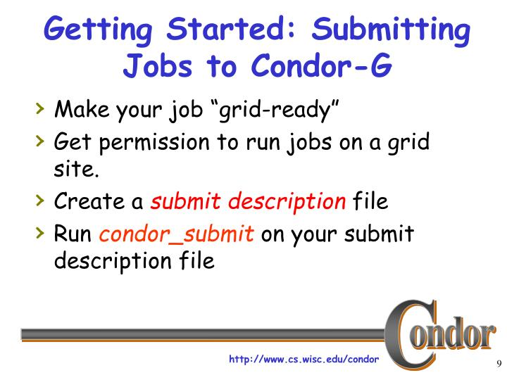 Getting Started: Submitting Jobs to Condor-G