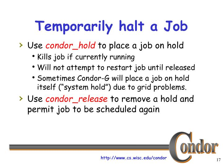Temporarily halt a Job