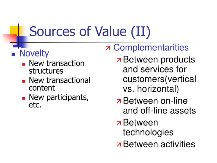 Sources of Value (II)