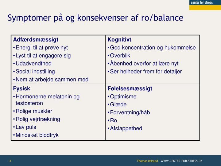 Symptomer på og konsekvenser af ro/balance