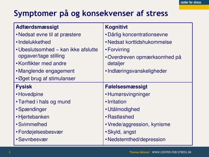 Symptomer p og konsekvenser af stress