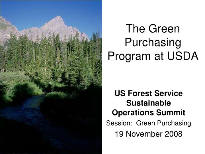 the green purchasing program at usda n.