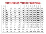 conversion of probit to fatality data
