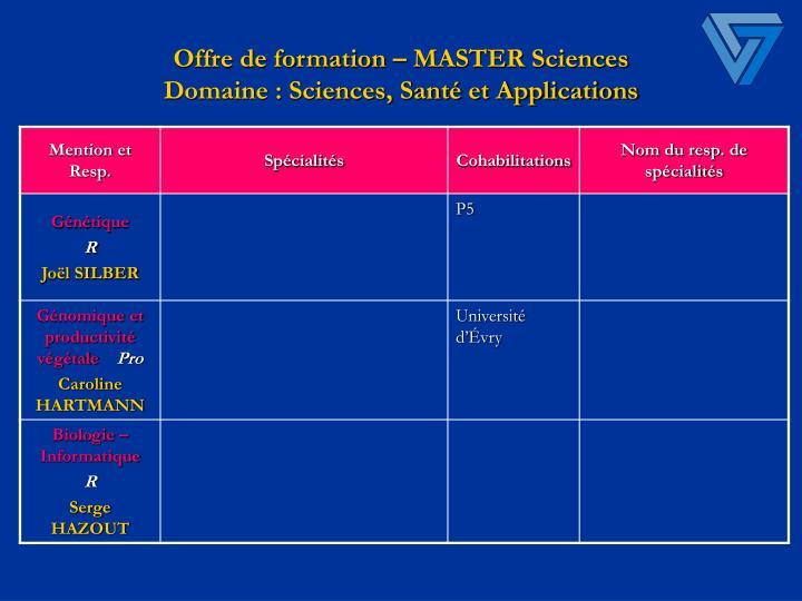 Offre de formation master sciences domaine sciences sant et applications1
