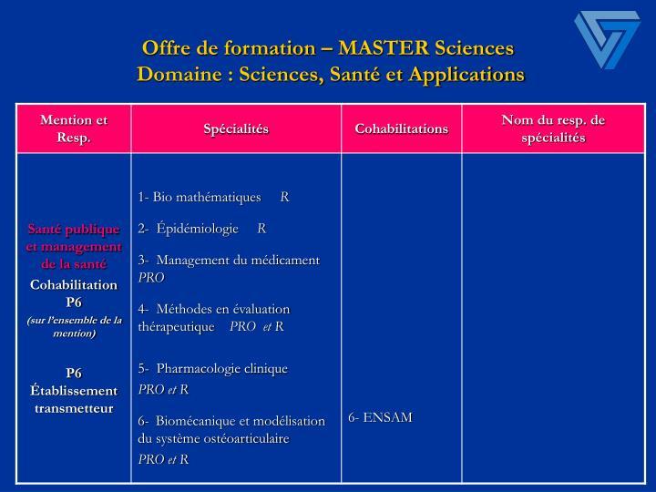 Offre de formation – MASTER Sciences