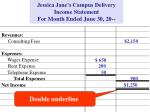 jessica jane s campus delivery income statement for month ended june 30 206