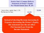 jessica jane s campus delivery statement of owner s equity for month ended june 30 20