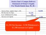 jessica jane s campus delivery statement of owner s equity for month ended june 30 201