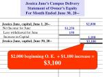 jessica jane s campus delivery statement of owner s equity for month ended june 30 202