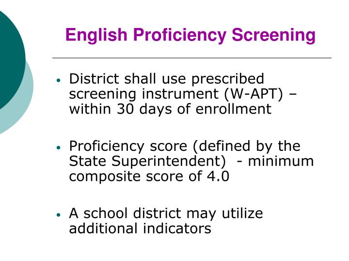English Proficiency Screening