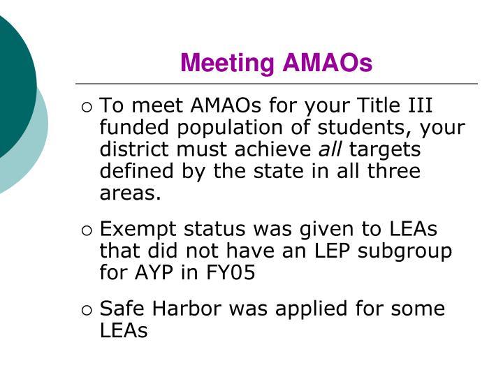 Meeting AMAOs