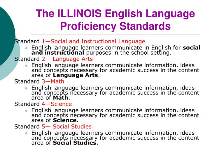 The ILLINOIS English Language Proficiency Standards