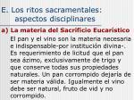 e los ritos sacramentales aspectos disciplinares