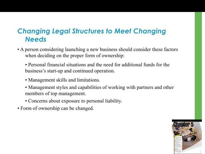 Changing Legal Structures to Meet Changing Needs