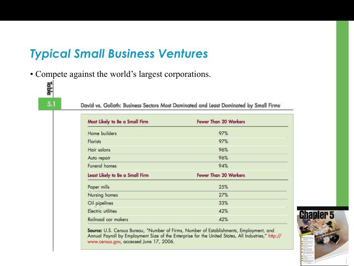 Typical Small Business Ventures