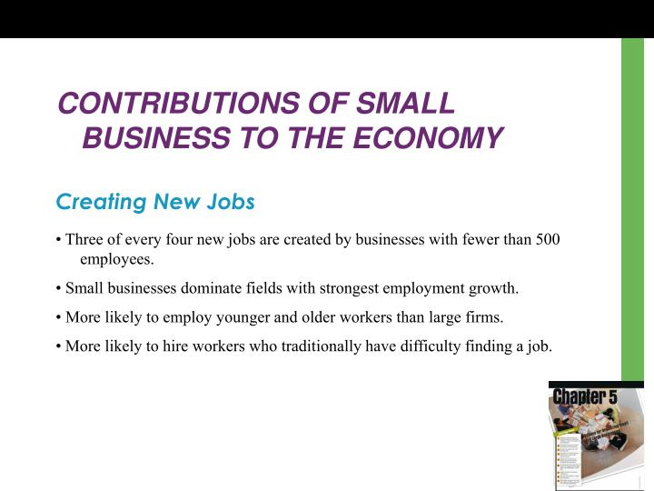 CONTRIBUTIONS OF SMALL BUSINESS TO THE ECONOMY