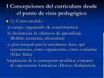 i concepciones del curriculum desde el punto de vista pedag gico