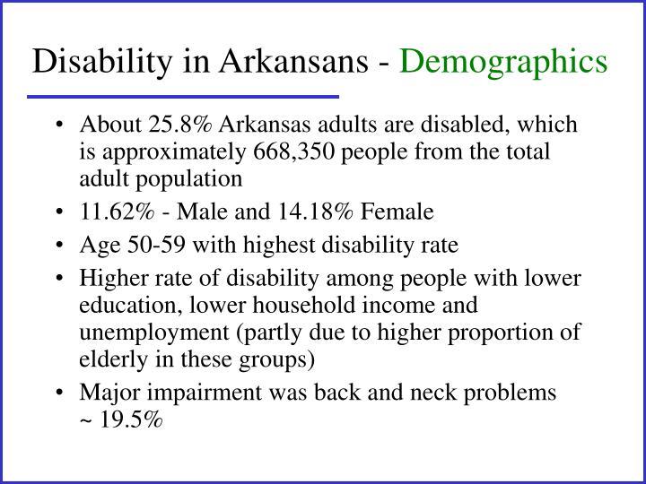Disability in Arkansans -