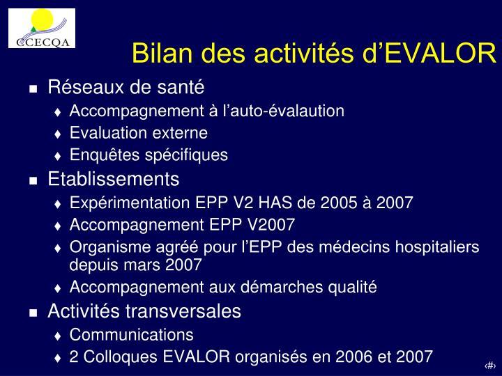 Bilan des activités d'EVALOR