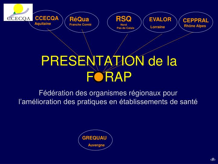 PRESENTATION de la FORAP
