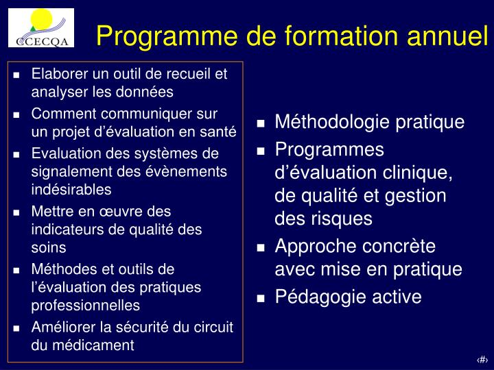 Programme de formation annuel