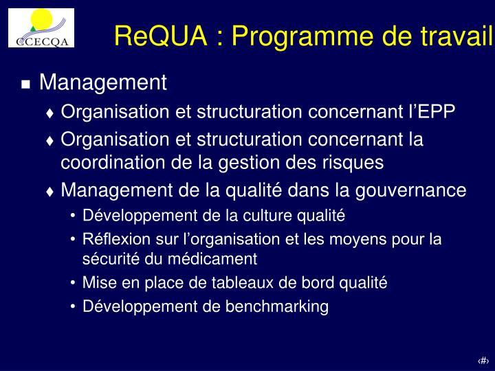 ReQUA : Programme de travail