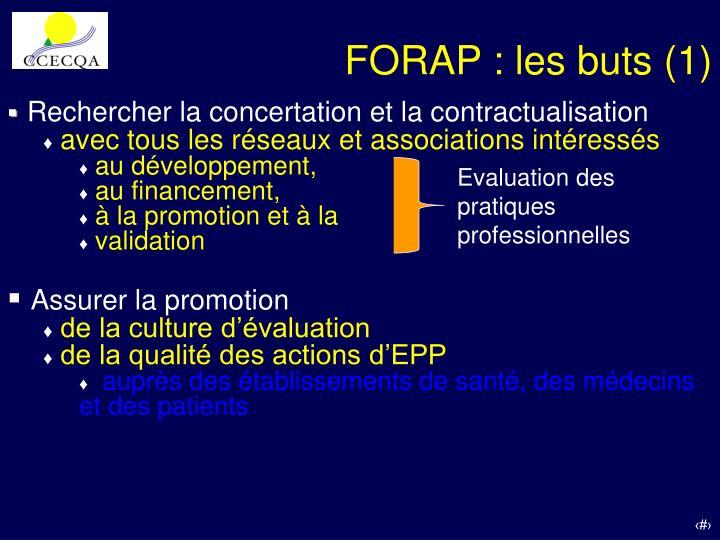 FORAP : les buts (1)