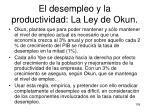 el desempleo y la productividad la ley de okun