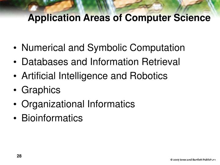 Application Areas of Computer Science