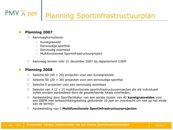 Planning Sportinfrastructuurplan