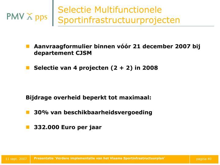 Selectie Multifunctionele Sportinfrastructuurprojecten