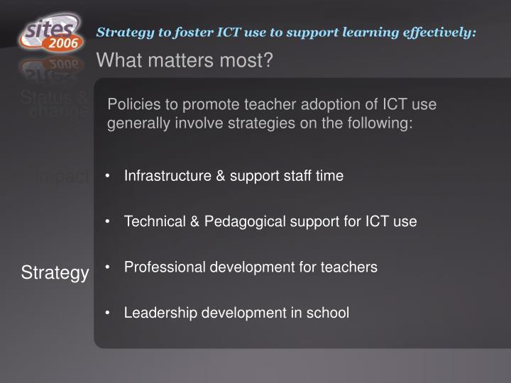 Strategy to foster ICT use to support learning effectively: