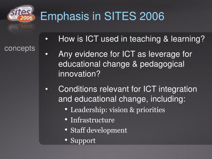 Emphasis in SITES 2006
