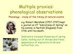 multiple proxies phenological observations