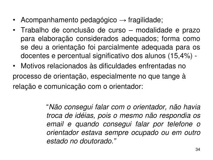 Acompanhamento pedagógico → fragilidade;