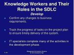 knowledge workers and their roles in the sdlc develop